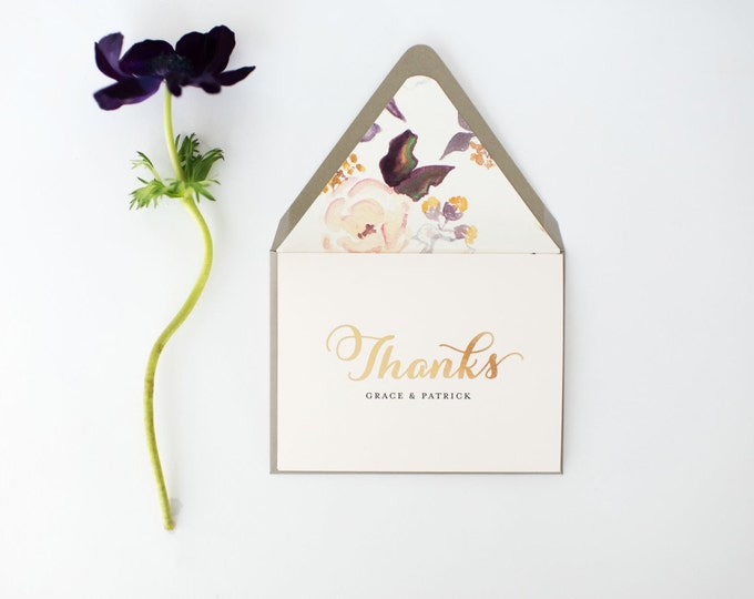grace gold foil personalized  thank you cards +  lined envelopes (set of 10) // wedding thank you cards // lola louie paperie