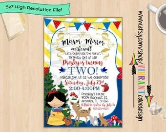 Snow White Invitation, Disney Princess Birthday Invites, Snow White Birthday Party Theme, Little Girl Birthday Party, Cute Invites