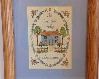 Vintage 1990's Framed Calligraphy Print: It's Love That Makes A House A Home by Eva, The Five Seasons Calligraphy
