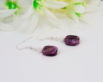Earrings, Drop Earrings, Dangle Earrings, Glass Bead Earrings, Lentil Beads, Purple Beads, Beaded Earrings, Beaded Jewelry, Gift for Her