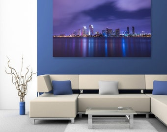 Skyline City Reflections Fine Art Print, Purple Blue, Clouds, Wallart Photo Printable, Home Office Decor, Night Landscape Photography Lover