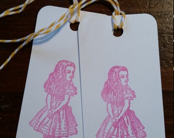 Hand Stamped Gift Tags- Alice in Wonderland, set of 12