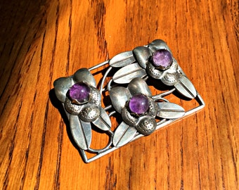 Vintage Sterling Silver and Amethyst Taxco Brooch ~ Vintage Mexican Silver Jewelry ~ Collectable Antique Mexican Silver Brooch with Amethyst
