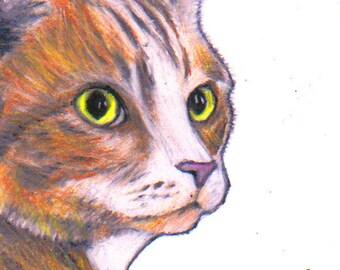Ginger cat art print, cat art images, signed giclée print, cat wall art, cats in art, cat fine art print, ginger and white cat giclee print.
