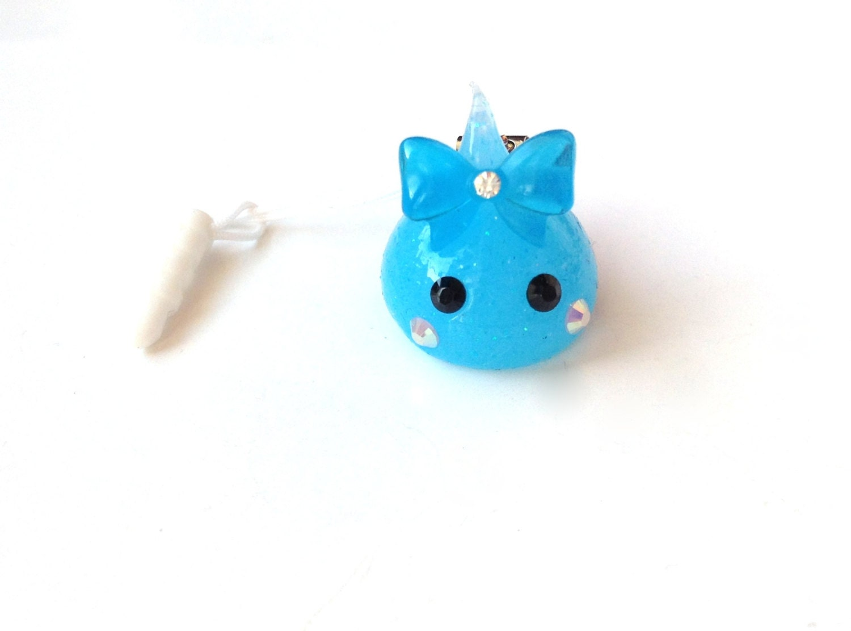 Squishy Bunny Etsy : Blue Glitter Ribbon Hoppe Chan Squishy Kawaii Phone Charm