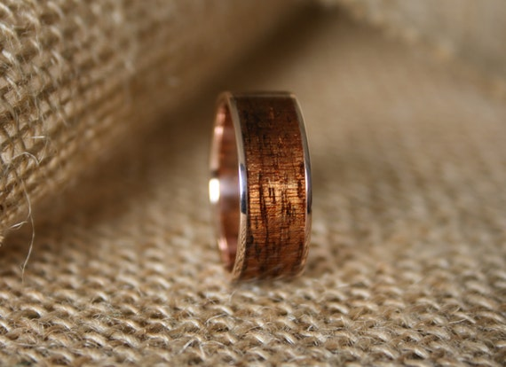 Men S Wedding Band 14k Rose Gold Ring With Hawaiian Koa