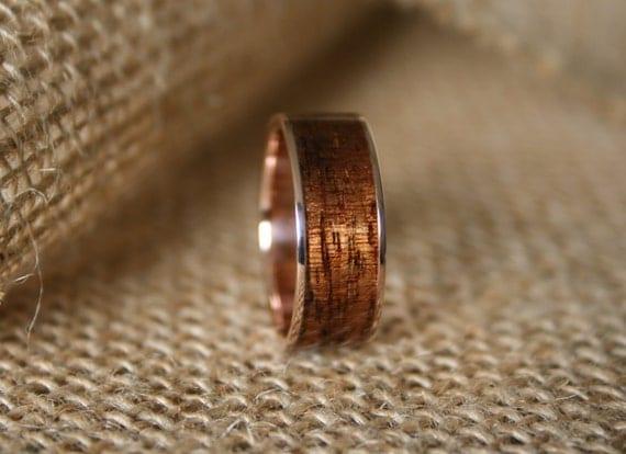 s wedding band 14k gold ring with hawaiian koa