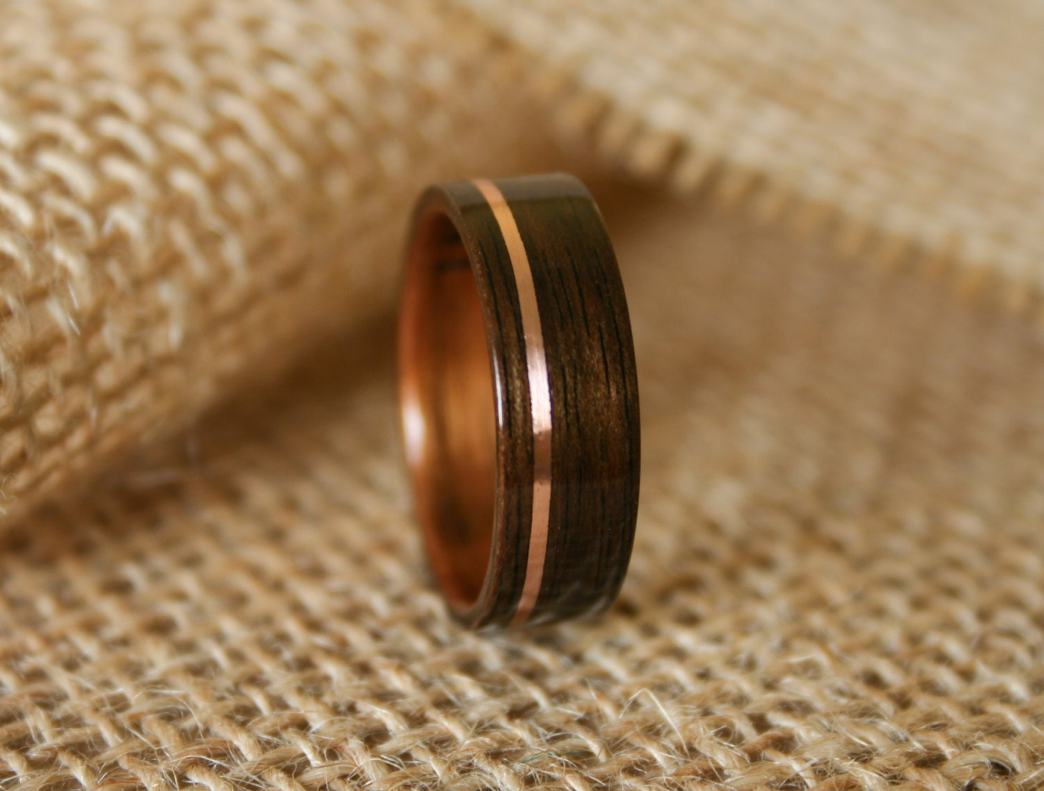 mens wooden wedding band with 14k rose gold inlay in macassar ebony wood with koa wood - Wood Wedding Ring