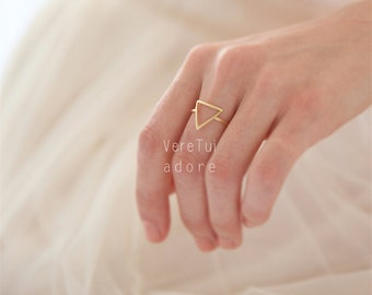 Simple Gold Triangle Band Ring