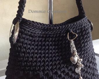 Black and silver - shoulder shopping or evening wear Messenger bag
