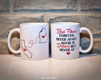 Long Distance Custom State Mug | Gift for BFF| Gift for Sisters | Gift for Best Friend | Gift for Mom | Personalized Mug | Going Away Gift
