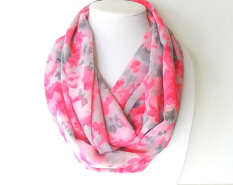 Infinity Floral Scarf, Hot Pink Scarf, Women's Scarves, Printed Scarf, Spring Scarf, Fall Scarf, Pink and Gray Scarf
