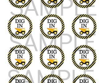 INSTANT 'DIG IN' Construction Favor Tags or Stickers Utensil Tag Printable file Dump Truck Theme