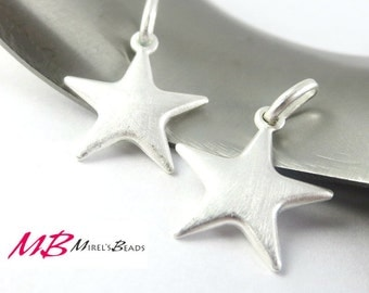 15x17mm Sterling Silver Star Charm, Pendant with 5.6x2.9mm Closed Jump Rings