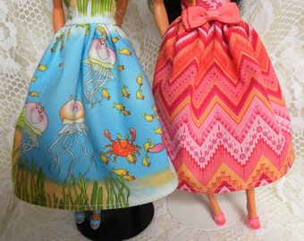 Barbie Doll Dress. You choose the print. NEW Handmade. 11 1/2 inch dolls. 1 dollar 55 cent shipping