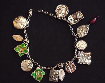 "Handmade Artisan ""Charmed"" PMC .999 Fine Silver Charm Bracelet Sterling Chain"