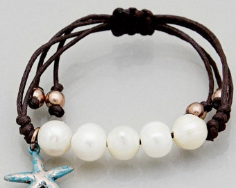 Adjustable Boho Beach Ringed Freshwater Pearl Bracelet