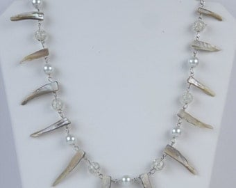 """18-24"""" Handmade Tribal Style Spiky Shell Glass Bead Faux Pearl Necklace and Earrings -Choose length"""