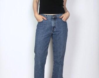 """Calvin Klein bootcut / 8 / waist 31"""" vintage 90s denim blue jeans cuffed mid rise minimalist designer"""