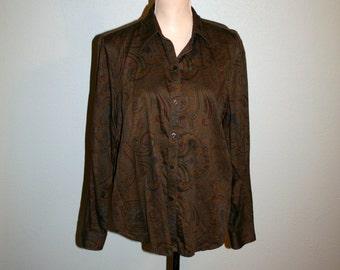 Women Plus Size Blouse XL Women Shirt Paisley Long Sleeve Button Up Cotton Designer Clothing Brown Ralph Lauren FREE SHIPPING Women Clothing