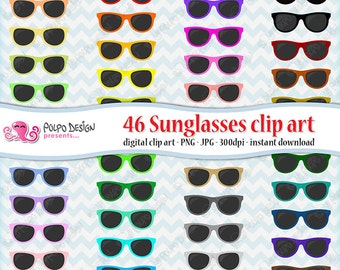 46 colorful Sunglasses clipart. Digital sunglasses clip art, digital shades clipart, rainbow sunglasses, summer clipart. Instant Download.