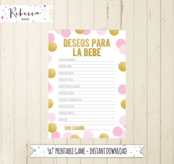 Baby Shower Games In Spanish: Baby Shower Game In Spanish Wishes For Baby Deseos Para La