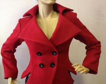 Women red blazer,slim fit jacket,tailored red blazer,asymmetrical red coat,red short jacket