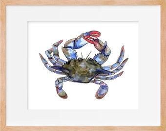 Maryland Crab 102 Print, Blue Crab, Costal Wall Art, Costal Wall Decor, Art, Beach House Decor, Beach, Nautical, Decor, Beach House Wall Art