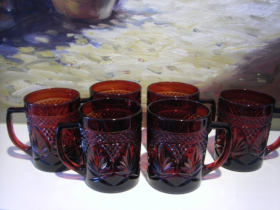 Vintage Arcoroc Ruby Red Glass Tea Cups French Glass Ware
