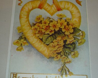 Lovely Yellow Heart and Flowers Antique Valentine Postcard
