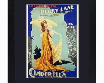 Cinderella - Drury Lane Theatre London - Mounted & Framed Vintage Print