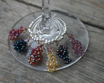 Grape Cluster Wine Glass Charms Set of 6,  Beaded Wine Glass Charms