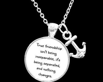 Best Friend Gift, Long Distance True Friendship Necklace, Best Friend Necklace, Quote Best Friend BFF Necklace