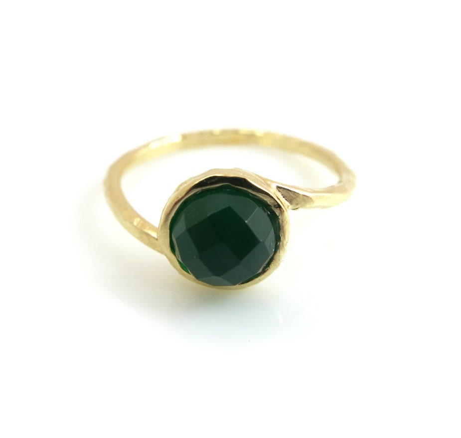 agate ring gold ring green agate ring thin gold ring agate