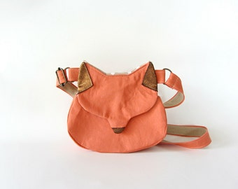 Crossbody phone bag, small cat bag, cat purse, gift for her, fox purse, fox bag, salmon pink phone wallet