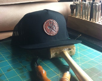 The Hat, Handmade Graveside Leather Wrx snap back hat, leather logo, hand stitched, black snap back, hand tooled, hand dyed,