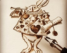 Pyrography on paper. White rabbit illustration on watercolour paper. Hand created by TimberleePyrography