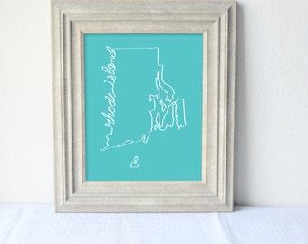 Printable Rhode Island State Art Print 8x10 Digital Wall Art Gift