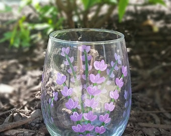 Lavender hand painted stemless wine glass