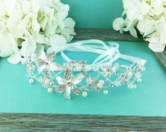 Pearl Bridal Ribbon Headband, crystal ribbon headband, wedding headpiece, rhinestone tiara, rhinestone, ribbon headband 271357629