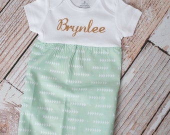 Mint Arrows Baby Gown Baby Shower Gift~ Sizes Preemie, NB, 3 m, 6m~ Personalized Glittery Vinyl or Embroidery