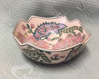 Toyo Floral Porcelain Bowl, Raised Relief Decorative Macau Chinese Squared Bowl, Hand Painted, Gold Trim, Scalloped Edged