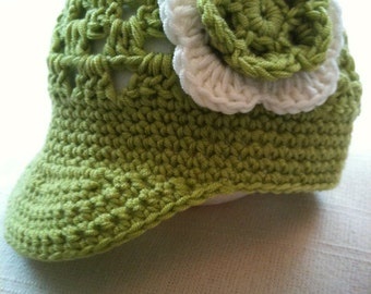 Crochet Pattern: Baby Visor Beanie (0012) - Permission to Sell Finished Products