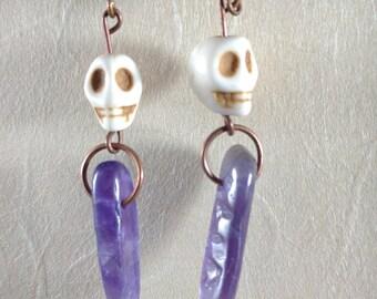 Skull and amethyst point earrings