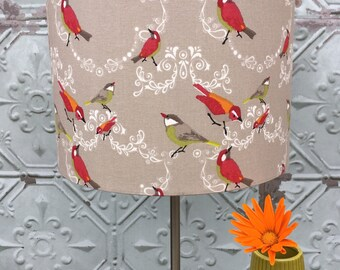 Little French Birds Fabric covered Lampshade