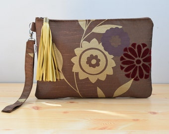 Brown clutch,babric clutch,brown purse,luxury handbag,evening bags,fabric clutches,flowers clutch,brown fabric bags,silky bags,tassel clutch