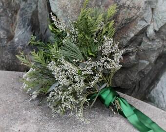 custom dried bridal bouquet, greenery bouquet, green and white bouquet, woodland bouquet, cedar bouquet, eucalyptus bouquet, dried bouquet