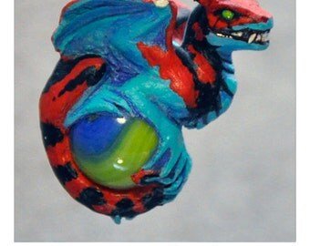 Fire & Ice Snarl - Collectible Dragon Art Ornament Necklace