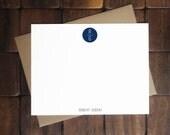 Flat Notecards -- Circle Monogram  // Custom Notecards // Personalized Stationery // Men's Stationery // Monogram Stationery