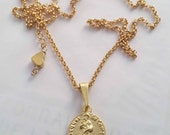 Necklace - St James of Compostela - 18K Gold Vermeil - 16mm + 18 inch 18K Gold Plated chain